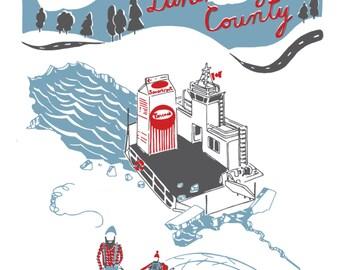 "Winter Scene, Ice Skating, Nova Scotia, Ferry,Welcome to Lunenburg County - Archival Print of Original Artwork - 11"" x 14"""