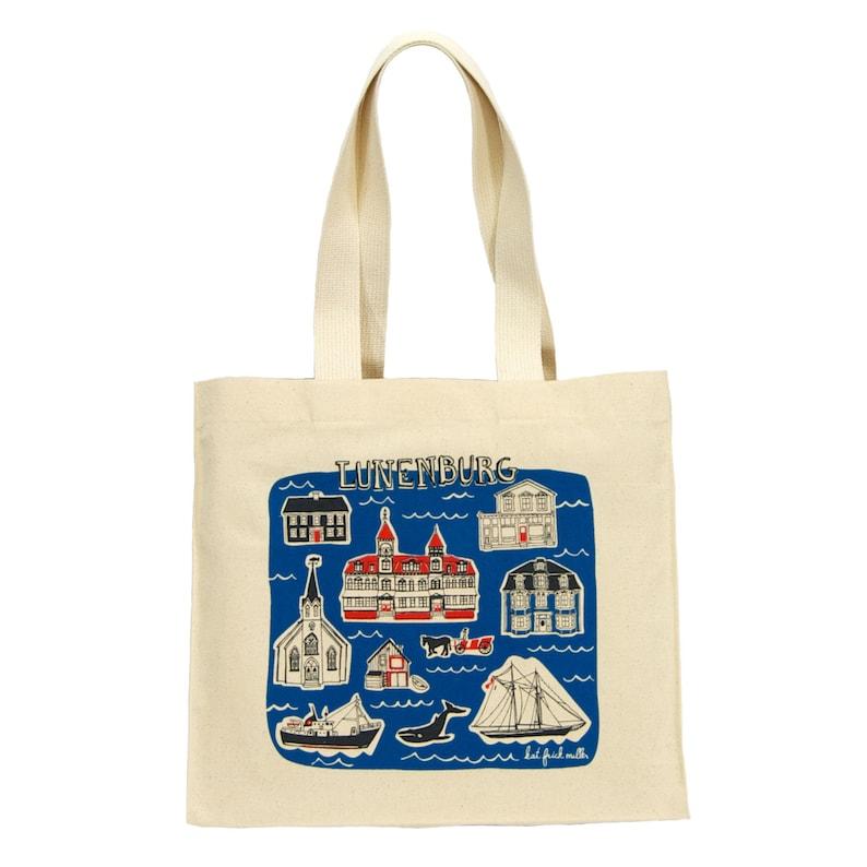 Cotton Canvas Gusseted Market Bag with Screenprint of Nova Scotia Lunenburg Tote Bag