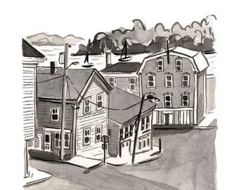 "Prince Street, Lunenburg, Nova Scotia, Houses, Kitchen Art, Black and White - Limited Edition Art Print India Ink original -  8"" x 10"""