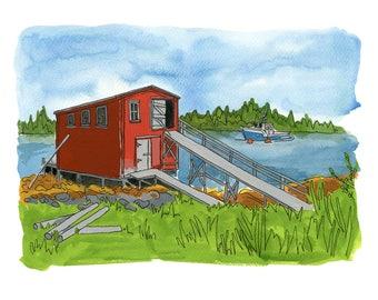 "Lahave Islands - Limited Edition Print of a Watercolour and Ink original -  8"" x 10"", Nova Scotia Fishing Shack, Nautical Decor, Wall Art"