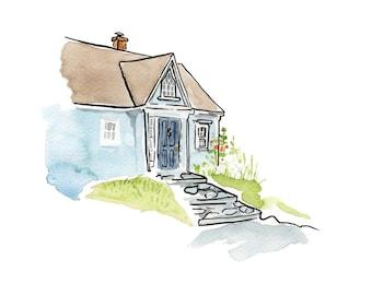 "Blue House on the Hill, Nova Scotia, Kitchen Art - Limited Edition Art Print Watercolour -  8"" x 10"", Kat Frick Miller"