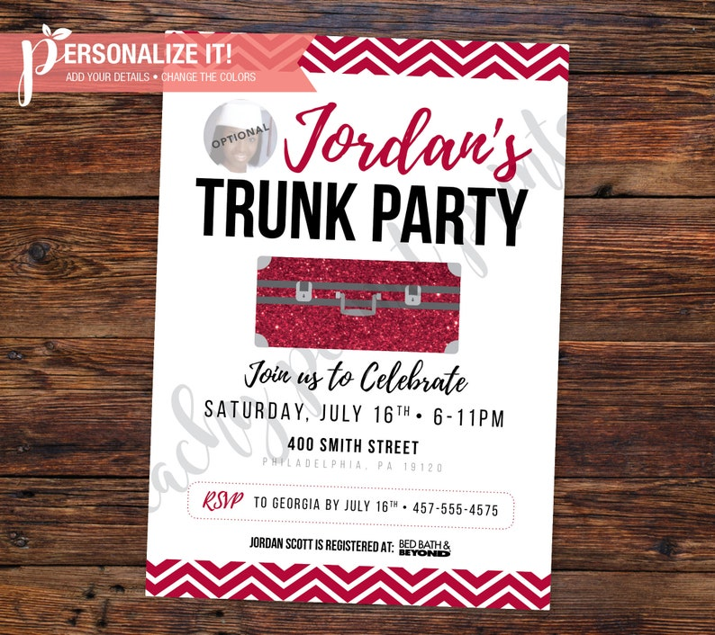 Trunk Party Invitation Going Away College High School Graduation Template Personalized Printable Download Custom Color 5x7 OR 4x6