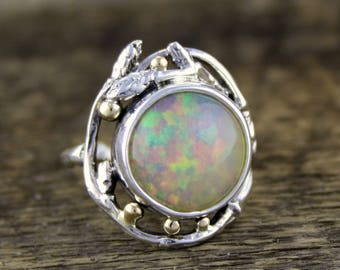 Ethiopian Opal Woodland Dance ring, opal ring, rainbow opal, opal engagement, welo opal ring, opal jewellery, forest, tree of life, rustic