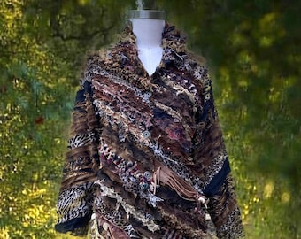Earthy colors wearable art Blouse/Top, boho repurposed unique clothing, OOAK fantasy altered couture blouse. Size XLarge.Ready to ship.