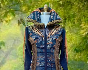 Wearable art boho Coat, Fantasy repurposed handmade clothing, altered eco-couture, OOAK festival goddess Coat.  Size Medium. Ready to ship