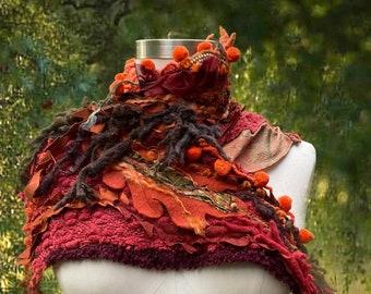 Woodland style boho Capalet/Shrug/ Shoulder warmer,  burn out orange OOAK refashioned art to wear, fantasy pom poms textured accessory