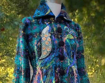 Peacock long sweater COAT, Size M/L, Wearable art altered couture, Eco Fantasy fashion, boho refashioned up cycled outerwear. Ready to ship