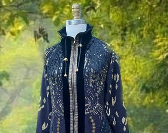Black Sweater COAT, lagenlook exotic clothing, Fantasy  boho  Art to wear, Amber Studios clothing, up cycled sweaters. Size L. Ready to ship