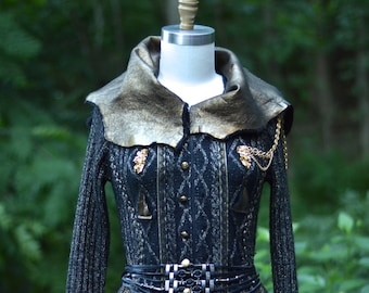 Steampunk black  gold long sweater COAT, Eco fashion coat, Fantasy clothing, wearable art coat, festival Coat. Small/Medium. Ready to ship