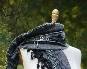 Steampunk long Scarf, textured Fantasy Art to wear, boho OOAK embellished upcycled textiles wrap, military style unique wool Wrap