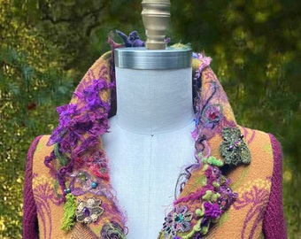 Amber Studios Wearable art Sweater COAT, fantasy Floral repurposed  clothing, goddess fairy long boho eco couture Coat.Size S. Ready to ship