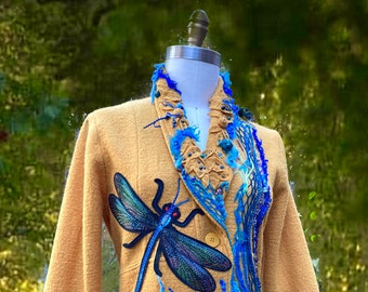 Dragonfly sweater Coat, boho Art to wear OOAK refashioned goddess clothing, unique repurposed Fantasy Wearable art. Size XL. Ready to ship
