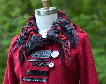 Pull veste de steampunk, boho embelli OOAK art à porter. Taille L/XL. Prêt à expédier