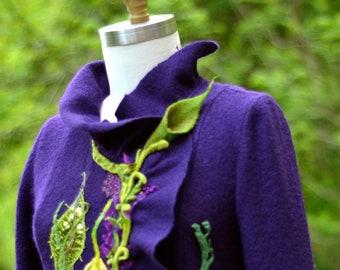 Pull manteau, violet vert forêt style Fantasy vêtements, boho art festival à porter, refashioned eco couture. Taille M. prêt à expédier