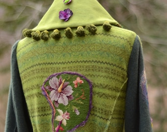 Green purple long Sweater COAT, Woodland fantasy art to wear, festival More girl, OOAK coat, refashioned Eco-couture.Size M/L. Ready to ship
