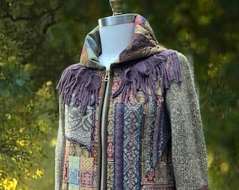 Patchwork boho long Sweater/ Jacket,  OOAK Lagenlook earthy colors Top, unique refashioned art to wear clothing. Size Large. Ready to ship