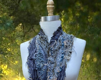 Steampunk  tattered  Scarf/Wrap, textured unique art to wear, non wool gray taupe Fall accessory, artisan fiber art Scarf