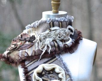 Brun taupe OOAK écharpe, châle, longue écharpe, chandails pédalé eco mode, unique boho brun wrap, remodelée châle rustique texturé