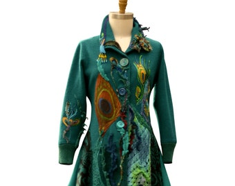 Reserved. Peacock long sweater COAT, Size L/XL. Wearable art altered couture, Eco Fantasy fashion, boho refashioned up cycled outerwear
