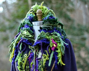 Reserved. Green purple long Sweater COAT, Woodland fantasy art to wear, festival goddess OOAK coat, refashioned Eco-couture. Size L/XL