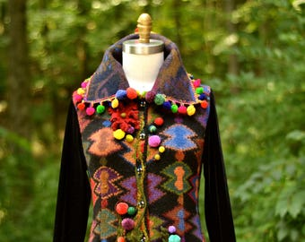 Reserved.Sweater COAT, boho art to wear, refashioned fantasy, OOAK Eco Couture, festival fashion, Pom Pom patchwork Coat. Size XLarge