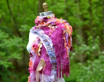 Soie d'été coloré long châle / enveloppe / Capelet, refashioned accessoire bleu rose, une sorte de A O non-laine châle
