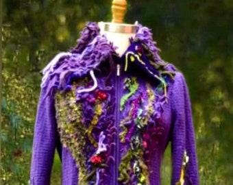 Custom sweater Coat for Lisa, Wearable art sweater Coat, OOAK boho Fantasy COAT, Fairy goddess altered couture,  unique refashioned clothing