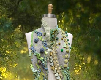 Cashmere Pom Pom long Scarf, boho Fantasy wrap with closure, OOAK wearable art exotic fairy scarf, handmade up cycled cashmere tassel scarf