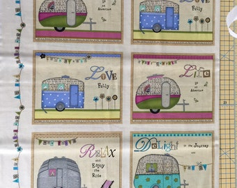 SALE + Half Price Postage! Happy Camper Fabric from StudioeFabrics, camper, travel,