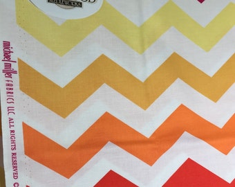 SALE Michael Miller Chic Chevron Print Fabric, Pattern #PC5709, Pink Rose Orange Gold Yellow White Zig Zag Fabric