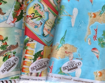 SALE + Half Price Postage!  Florida Summer, Florida Shop Hop 2015 Fabric Asst. by Quilting  Treasures, Florida map, Florida Postcards