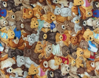 1012 Bear Crowd Children's quilting Fabric, Bear fabric, Children's Fabric, Bear Print Fabric