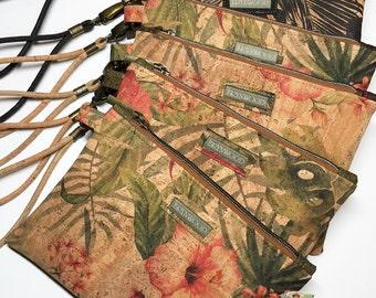 Brynwood Needleworks Vintage Hibiscus Grab and Go Clutch, Simple Cork Clutch, Cork Zipper Clutch, Grab and Go Cork Wristlet, Cork Wristlet