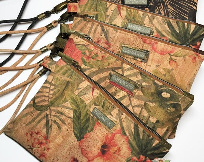 Featured listing image: Brynwood Needleworks Vintage Hibiscus Grab and Go Clutch, Simple Cork Clutch, Cork Zipper Clutch, Grab and Go Cork Wristlet, Cork Wristlet