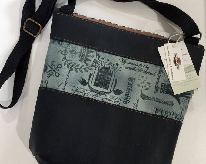 Featured listing image: Brynwood Needleworks Quilter's Cork KIRBY Crossbody Bag, Quilter's Cork Crossbody Bag, Three Zipper Crossbody Bag