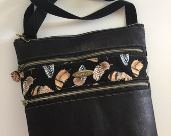 "Brynwood ""Nature Girl-Feathers"" KIRBY Crossbody Bag, Cork Crossbody Bag, Three Zipper Crossbody Bag"