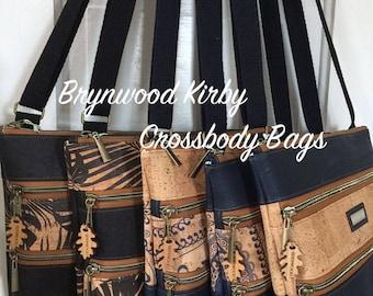 Brynwood Needleworks KIRBY Crossbody Bag, Cork Crossbody Bag, Three Zipper Crossbody Bag