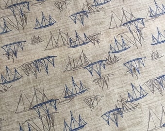 SALE + 1/2 Price Postage (2 yards or more) Janet Clare Hearty Good Wishes for Moda Fabric, sailboat fabric, Nautical Fabric, Schooner Fabric