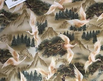 SALE + 1/2 Price Postage (2 yards or more ) Kona Bay Oriental Cranes Fabric, Cranes Print Fabric, Oriental Cranes Fabric