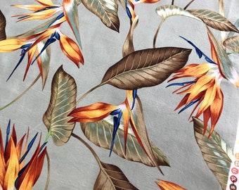 "Robert Kaufman, ""Tradewind Tropicals"" Floral Print Fabric, D 6097 Floral Print Fabric, Bird of Paradise Floral Print Fabric"
