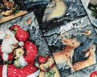 Winter Woodland Scene Fabric, Christmas Print Quilting Fabric, Steele Creek Studio, Santa, Snowman, Deer, Owl