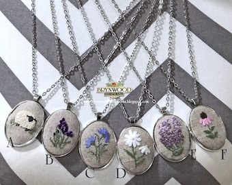 Exclusive Brynwood Floral/Animal Pendant, Needlework Pendant, Embroidered Pendant,