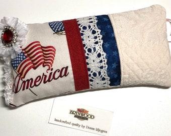America Pincushion, Patriotic Pincushion, Needlework Sewing Pincushion