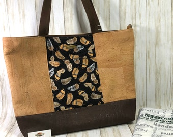 """New """"Bella"""" Tote, Brynwood Nature Girl Series Fabric Tote, Feather Print Cotton and Cork Fabric Tote"""