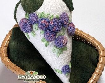 "Strawberry Sachet - ""Hydrangeas"", Ribbon Embroidered, Stumpwork, Hand Embroidered, Pincushion, Stitchery, Strawberry Pincushion"