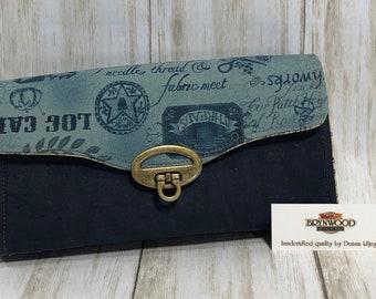 BRYN Clutch Wallet, Brynwood Bryn Wallet, Cork Fabric Wallet, Navy Cork Wallet, Quilter Clutch Wallet, Piecemakers Fabric