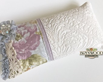 Lavender Blue Pincushion. Vintage Lace Needlework Sewing Pincushion