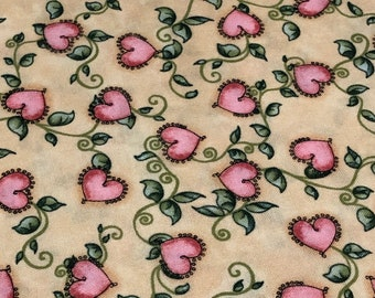 """Goddesses Hearts and Vines Quilting Fabric, Joy Hall, Fabri-Quilt, Print Pattern 9629, """"Goddesses"""" Fabric, Girly Fabric"""
