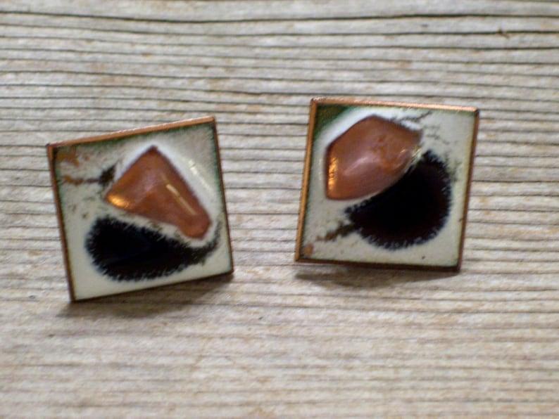 Vintage Copper Enamel Fused Glass Bubble Modernist Abstract Screwback Earrings Vintage Copper Denning Earrings Kay Denning Jewelry