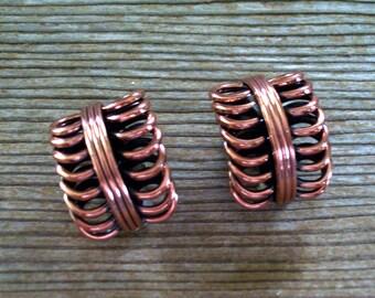 Vintage RENOIR Copper Double Coil Modernist Clip Earrings, MCM Copper Earrings, Renoir Earrings, Renoir Jewelry, Copper Coil Earrings